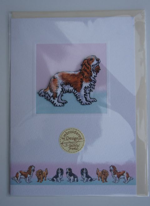 King Charles Cavalier Blenheim Embroidered card